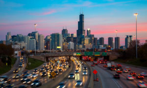 Chicago skyline with traffic